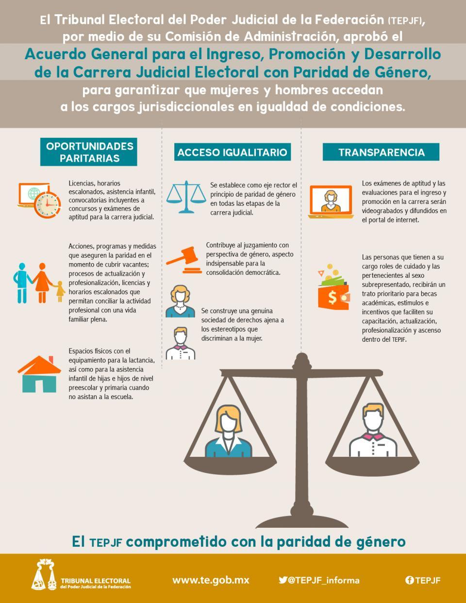 El tribunal electoral del poder judicial de la federación adopta un modelo de carrera judicial reforzado, que garantizará la paridad de género