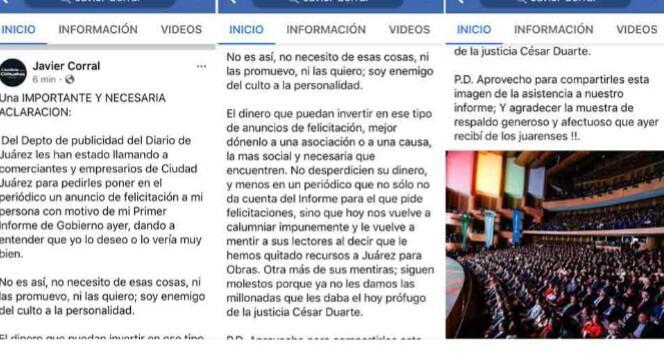 Pide Corral no comprar anuncios de su informe a El Diario