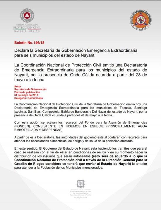 SE INCLUYE A BAHÍA DE BANDERAS…    Emiten alerta de emergencia por  calor en 6 municipios de Nayarit