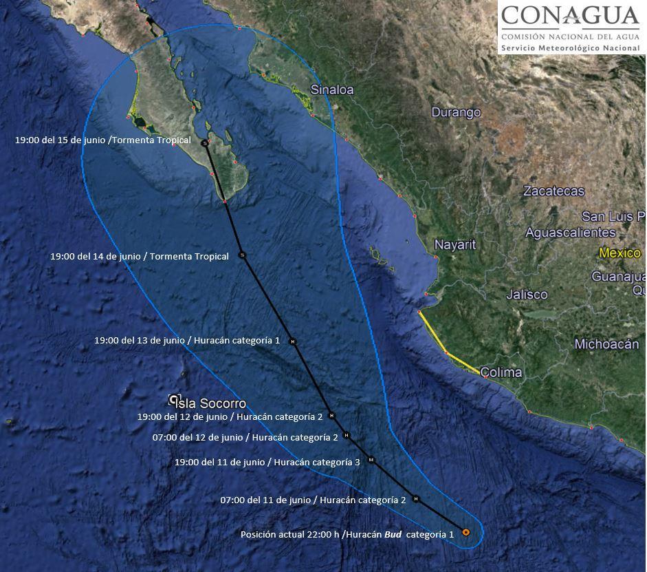 Huracán Bud generará tormentas  muy fuertes en al menos cinco estados