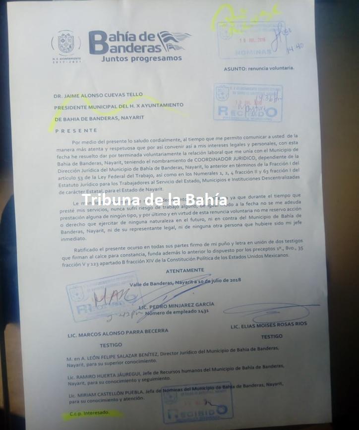 Renuncia Pedro Mijares al cargo de coordinador jurídico del Ayuntamiento de Bahía