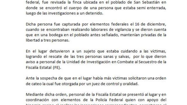 #Boletín| Fiscalía Estatal investiga privación ilegal de la libertad; hay un detenido y se localiza fosa clandestina.