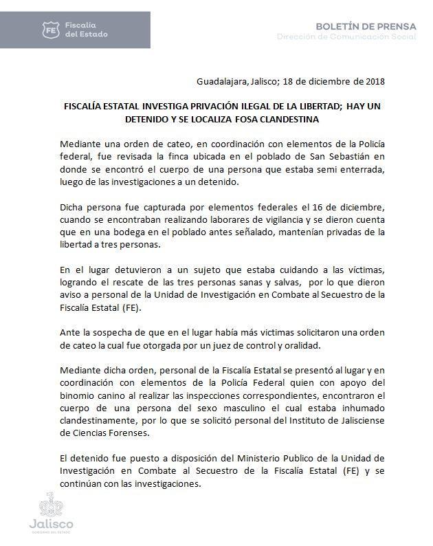 #Boletín  Fiscalía Estatal investiga privación ilegal de la libertad; hay un detenido y se localiza fosa clandestina.