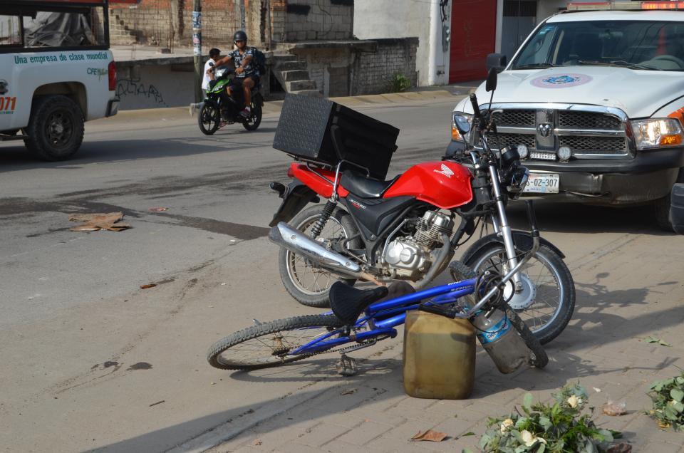 Ciclista atropellado  por un motociclista