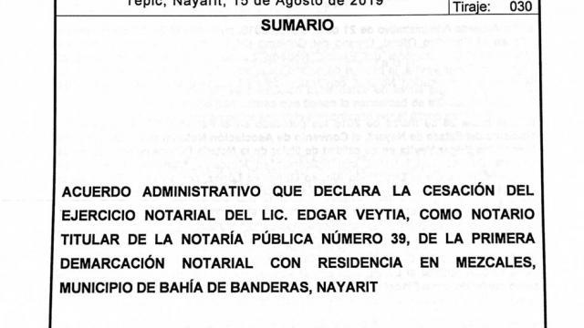 Gobernador declaró la cesación del ejercicio notarial del ex fiscal de Nayarit