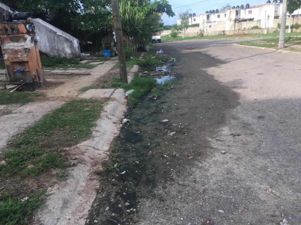 Denuncian vecinos de Jardines del Sol corren aguas negras en avenida