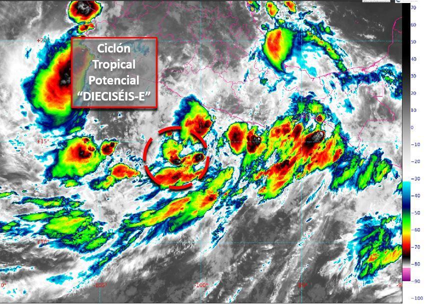 Se ha formado el Ciclón Tropical Potencial 16-E a partir de una zona de Baja Presión en el océano Pacífico