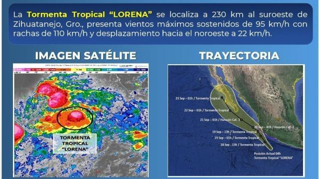"Se intensifica tormenta tropical ""Lorena"""