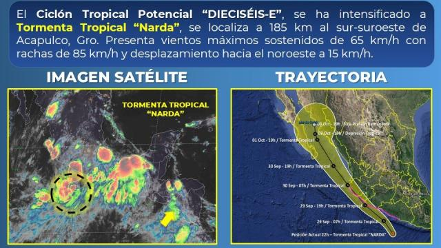 Se forma la Tormenta Tropical Narda cercana a costas de Acapulco, Guerrero