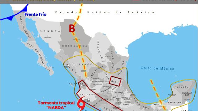 """Se intensificará fenómeno atormenta tropical """"NARDA"""""""