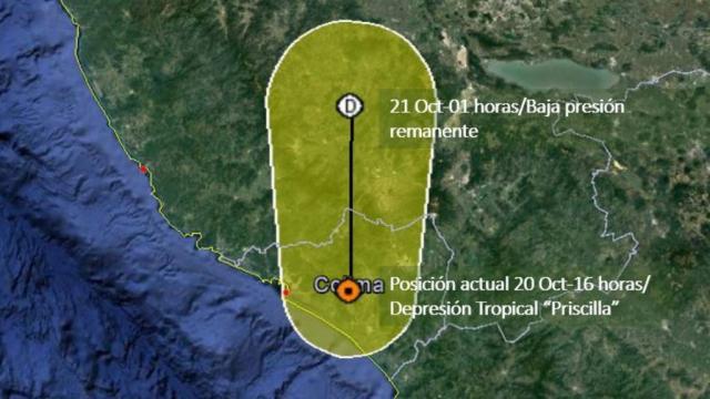 """""""Priscilla"""" toca tierra en Colima como depresión tropical"""