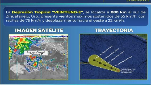 Depresión Tropical VEINTIUNO-E está en costas de Guerrero