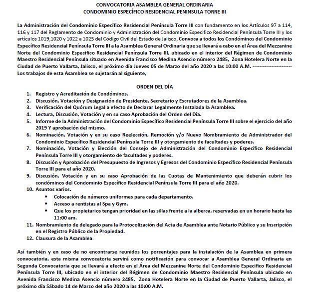 Convocatoria: Condominio Específico Residencial Península Torre lll