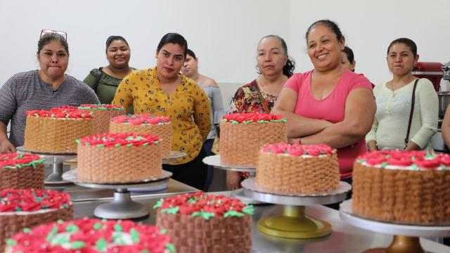 Supervisan avance de alumnos de decoración de pasteles