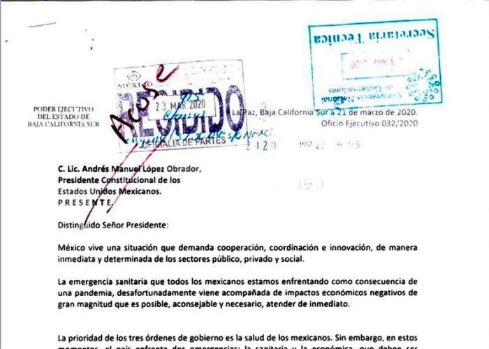 Solicita Gobernador de BCS reunión entre Conago y AMLO por Covid-19