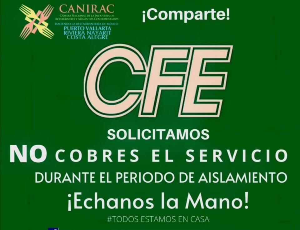 Piden restauranteros a CFE diferir sus pagos