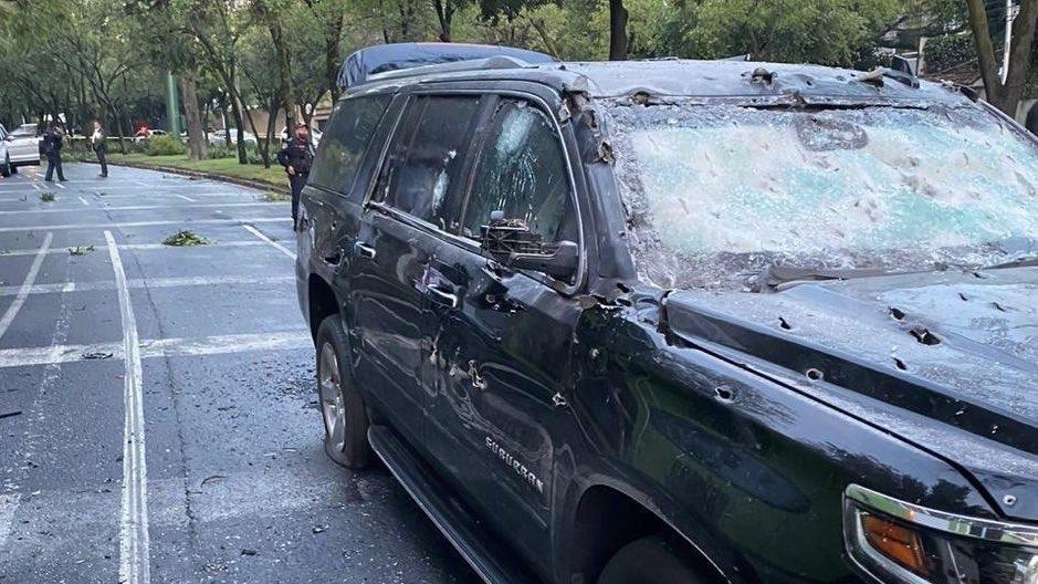 camioneta baleada del secretario de seguridad