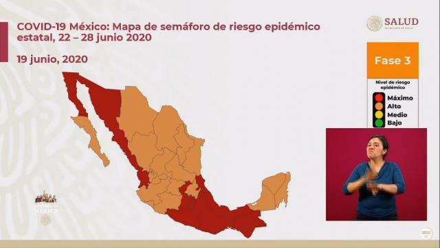 mapa para el 22 de junio