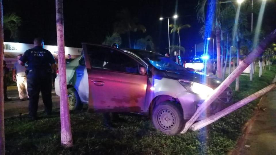 Automóvil impactado contra una palmera