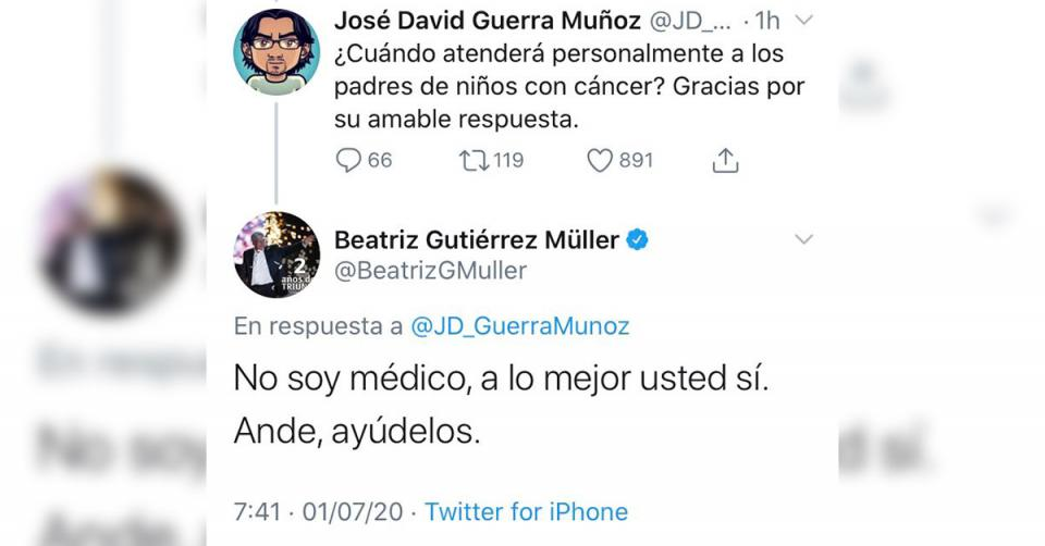 Tuit de Beatriz Gutérrez Müller referente a los niños con cáncer