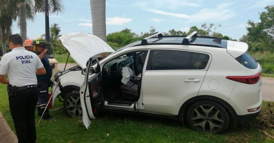 Auto impactado contra una palmera