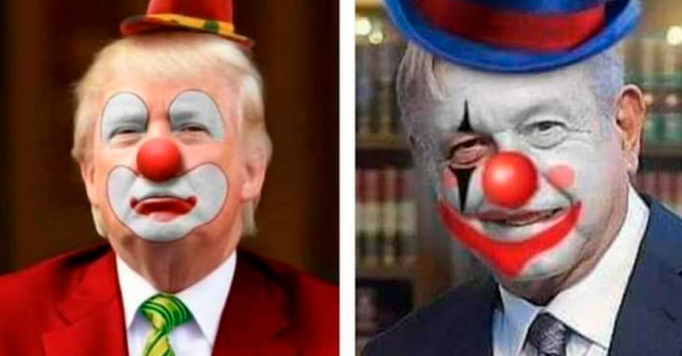 Montaje de AMLO y Trump con maquillaje de payaso