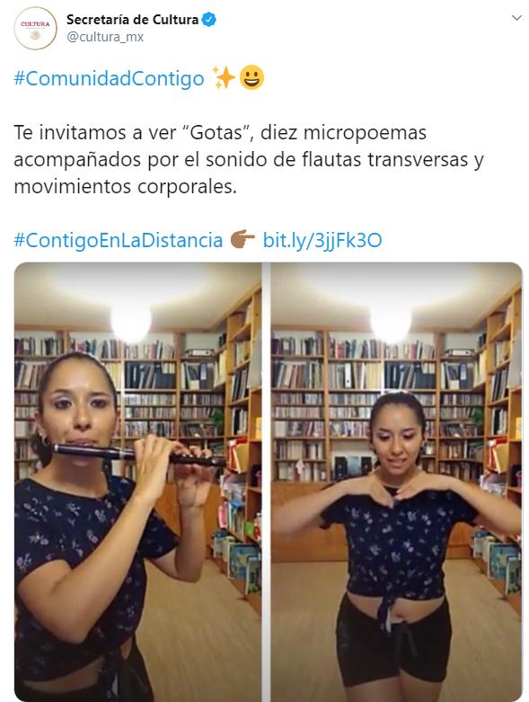 Tuit de Secretaría de Cultura