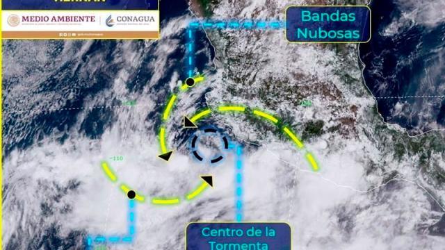tormentas tropicales Hernán e Iselle en el Océano Pacífico,