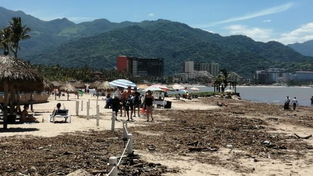 Basura en playa de Puerto Vallarta