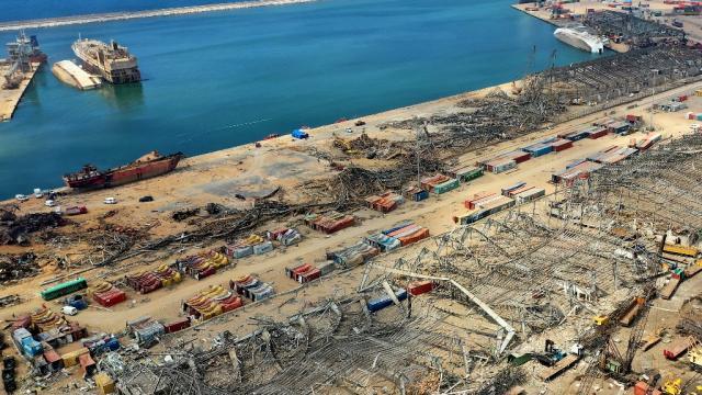 Vista aérea del puerto de Beirut
