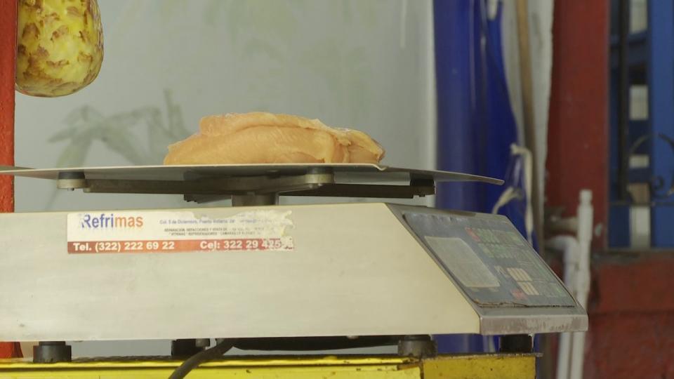 Báscula pesando pollo