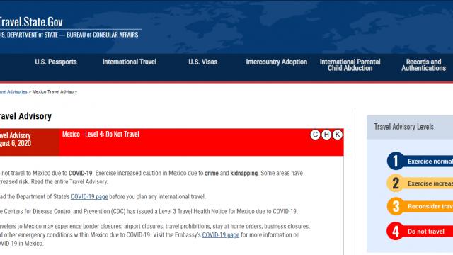 Página del gobierno estadounidense