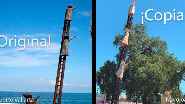Copia escultura vallartense en Navojoa