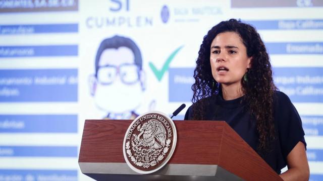 Luisa María Alcalde en rueda de prensa