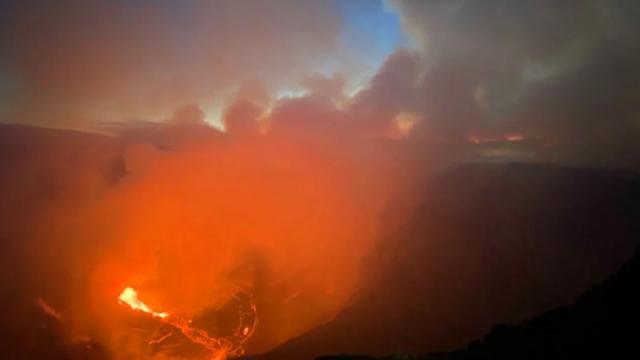 Volcán Hawaii en erupción