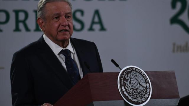 AMLO, en conferencia de prensa en el Palacio Nacional