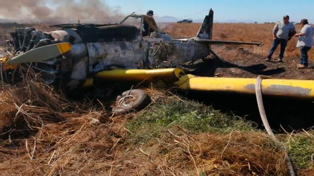 Se desploma y se incendia avioneta en Ahome, Sinaloa