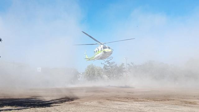 Helicóptero del SAMU aterrizando en Loma Bonita