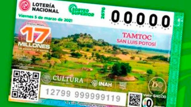Billete de Lotería Nacional reconoce sitio arqueológico de Tamtoc