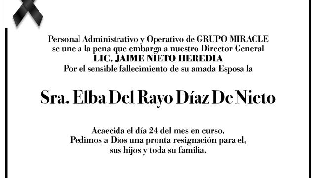 Esquela Elba Del Rayo