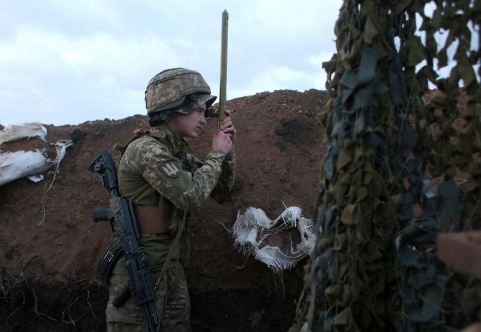 Militar en frontera ucraniana