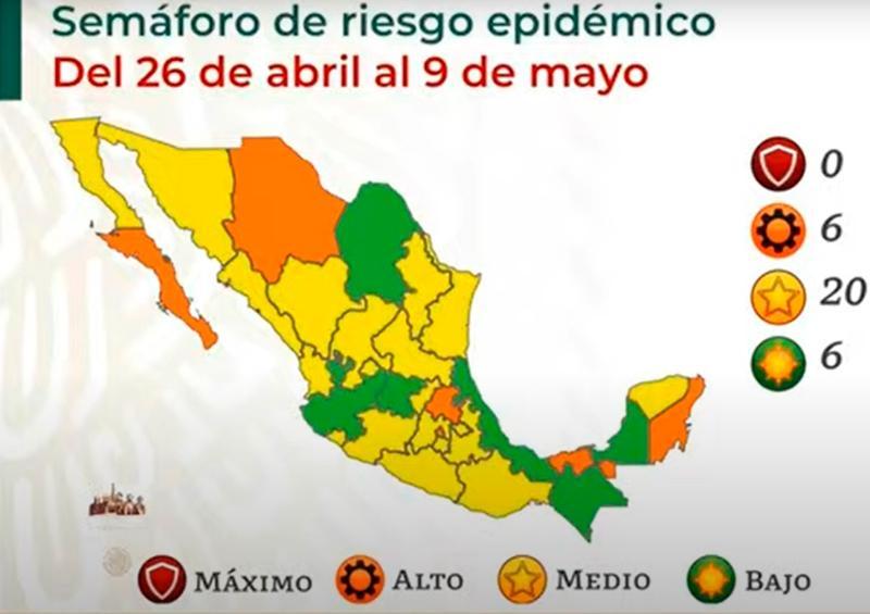 Jalisco alcanza el verde, Nayarit vuelve al amarillo