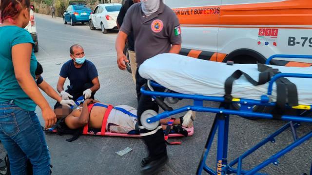 Motociclista accidentado se reporta grave