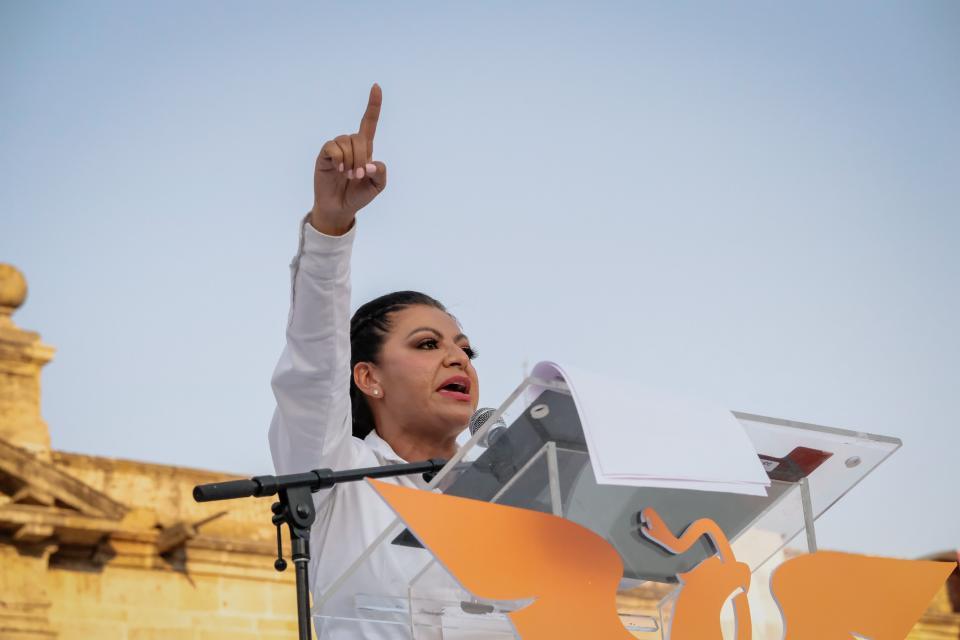 Lupita Guerrero en la 'Caminata por la Defensa de Jalisco'