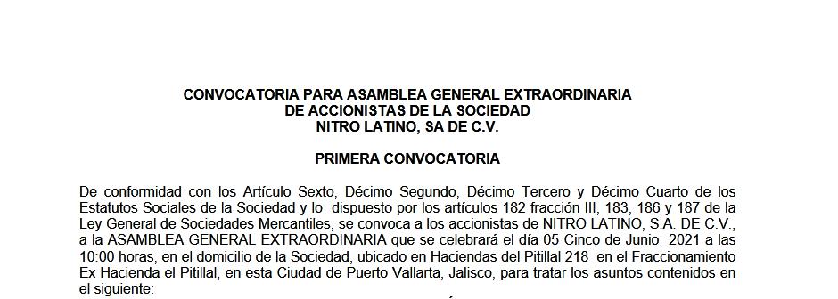 Convocatoria Asamblea Nitro Latino