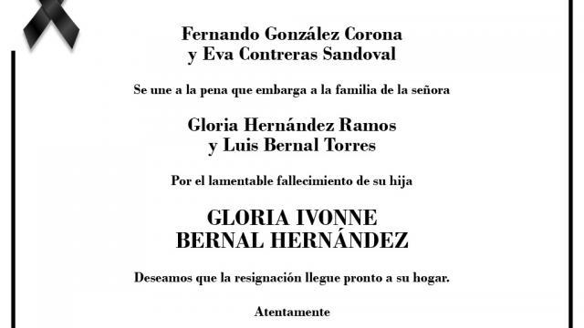 Esquela Gloria Bernal