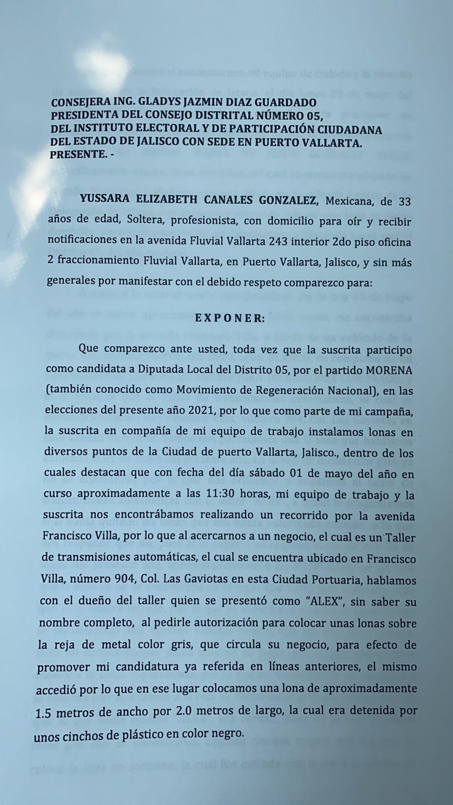 Yussara Canales interpone denuncia penal ante IEPC