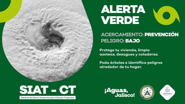 Protección Civil de Jalisco emite alerta verde