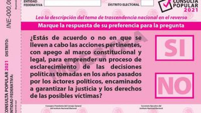Boleta para consulta popular sobre juicio a expresidentes