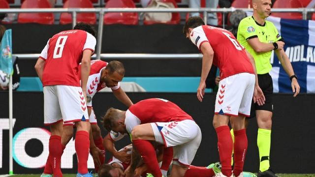 Christian Eriksen en el partido entre Dinamarca y Finlandia